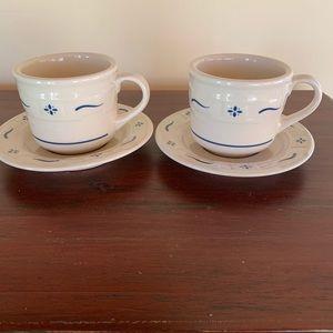 Longaberger Pottery Cup & Saucers Classic Blue